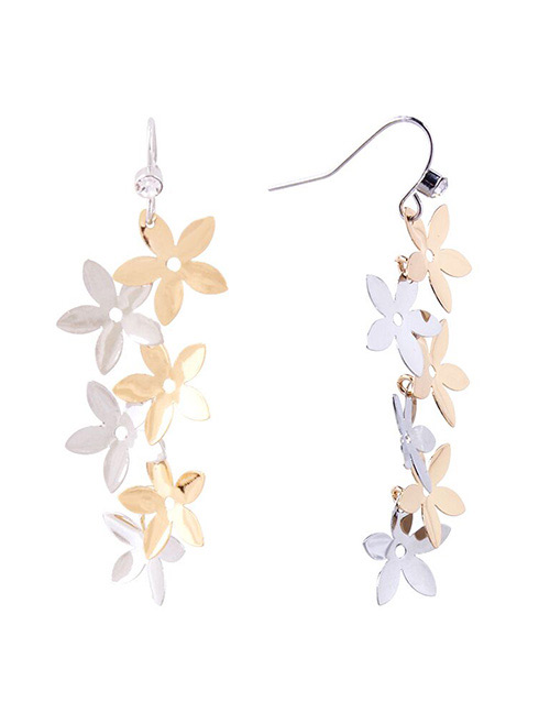 Fashion Multi-color Flowers Shape Decorated Long Earrings