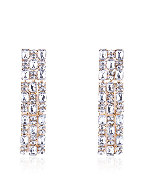Fashion White Full Diamond Design Long Earrings