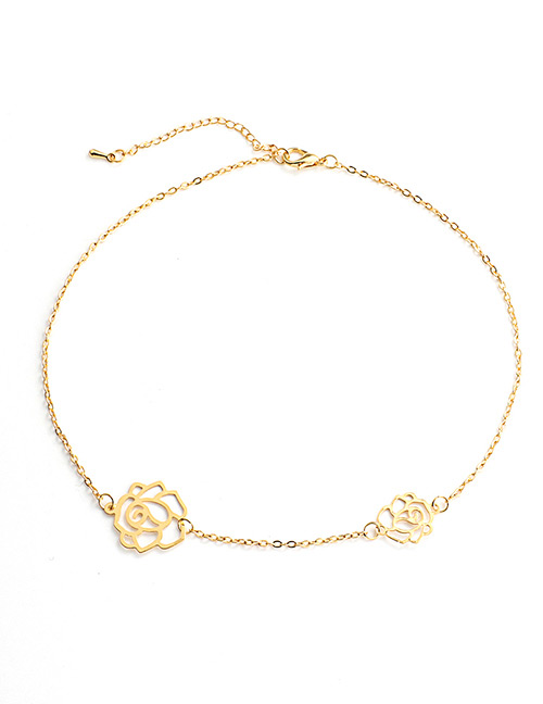 Fashion Gold Color Flowers Pendant Decorated Necklace