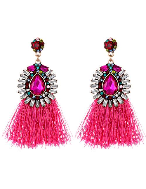 Fashion Plum Red Diamond Decorated Tassel Earrings
