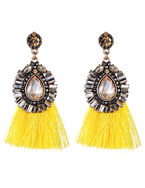 Fashion Yellow Diamond Decorated Tassel Earrings