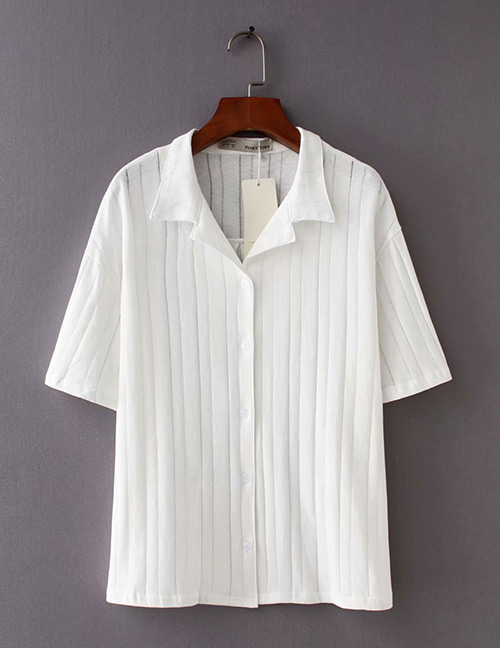 Fashion White Pure Color Design Knitted Loose Shirt