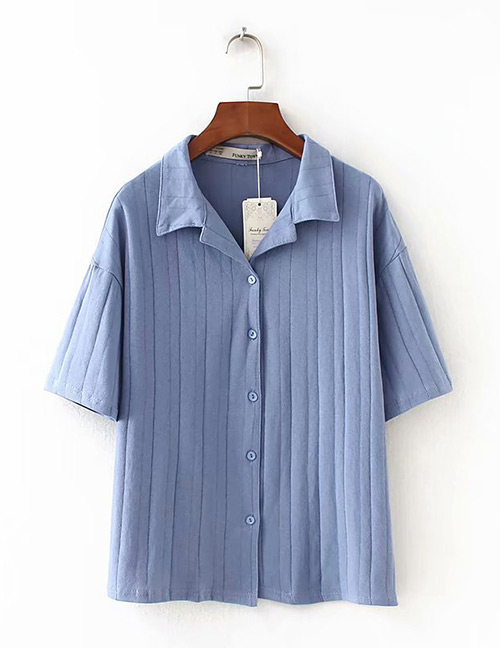Fashion Blue Pure Color Design Knitted Loose Shirt