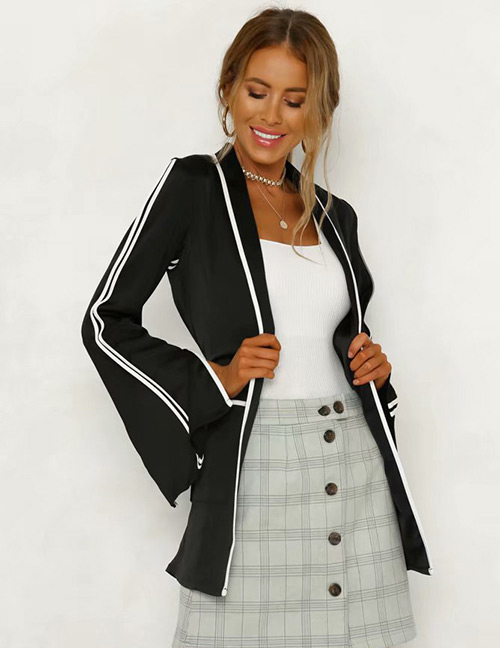Fashion Black Stripe Pattern Design V Neckline Coat