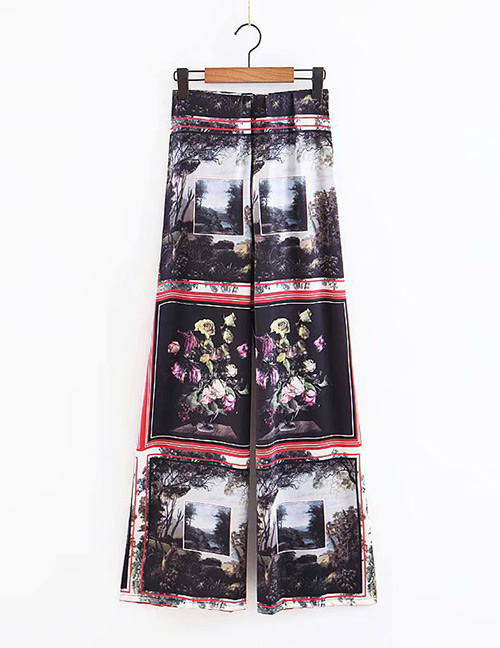 Fashion Black Flowers Pattern Decorated Wide-legs Pants
