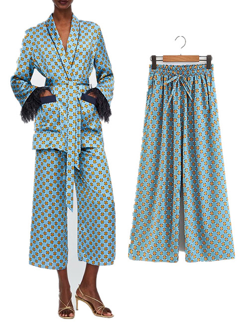 Fashion Blue Flowers Pattern Decorated Wide-legs Pants