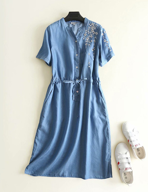 Fashion Blue Flowers Pattern Decorated Short Sleeves Dress