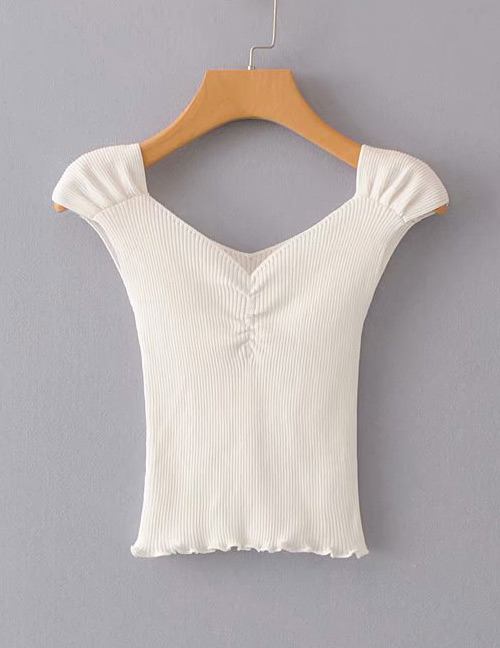Fashion White Pure Color Design V Neckline Knitted Shirt
