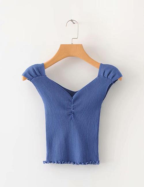 Fashion Blue Pure Color Design V Neckline Knitted Shirt