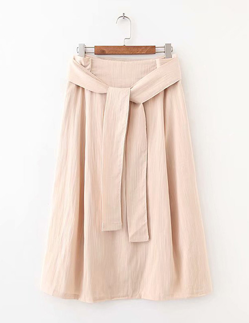 Fashion Beige Pure Color Design A-line Skirt