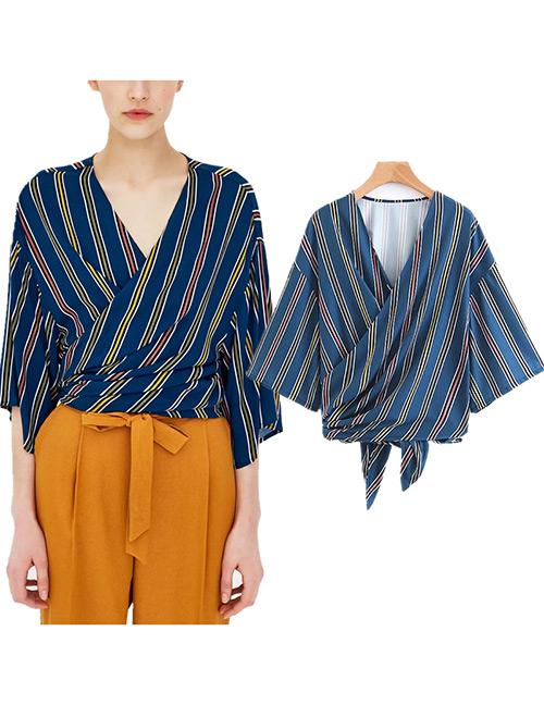 Fashion Navy Stripe Pattern Design V Neckline Shirt