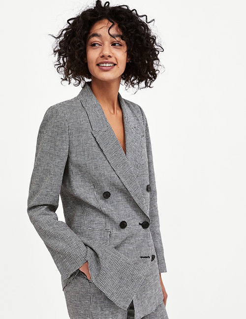 Fashion Gray Grids Pattern Decorated Coat
