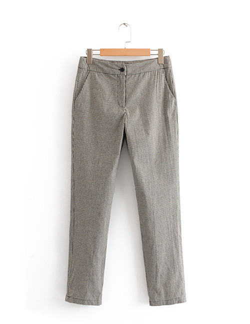 Fashion Gray Grids Pattern Decorated Pants