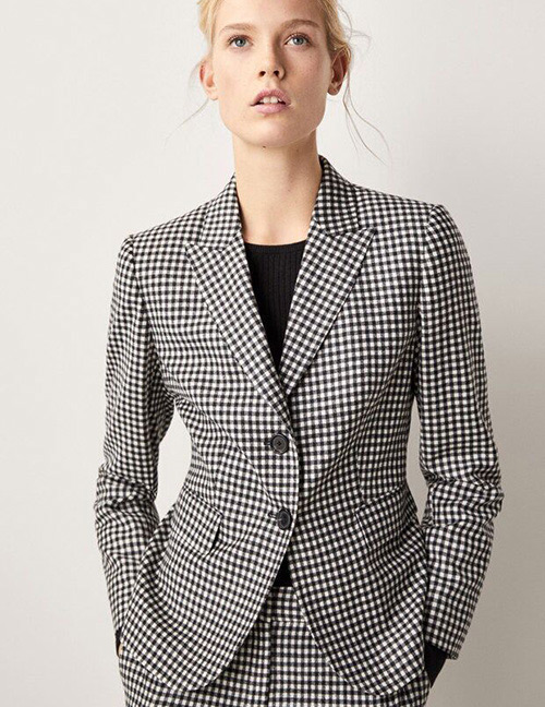 Fashion Wool Grids Pattern Decorated Coat