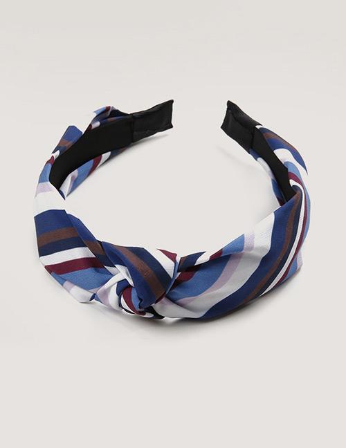 Sweet Dark Blue Stripe Pattern Decorated Hair Hoop
