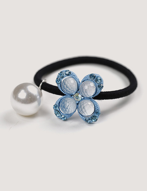 Sweet Blue Pearls&flower Decorated Hair Band