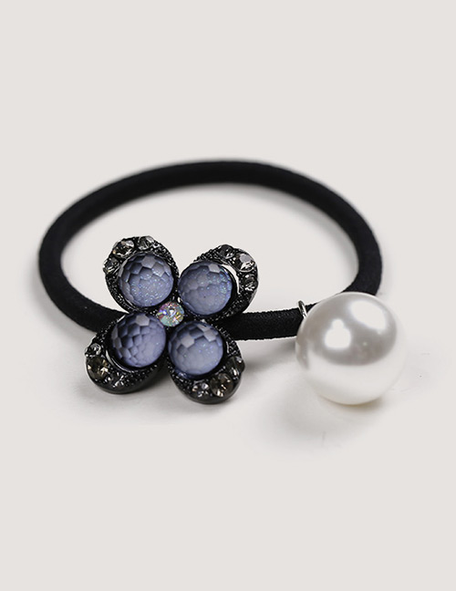Sweet Black Pearls&flower Decorated Hair Band