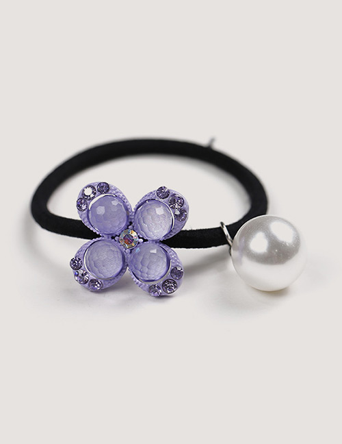 Sweet Purple Pearls&flower Decorated Hair Band