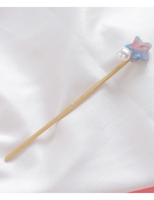 Sweet Blue+pink Pearl&star Shape Decorated Hairpin