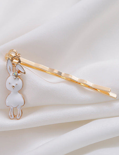 Sweet White Rabbit Pendant Decorated Hairpin