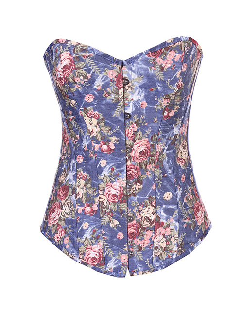 Sexy Blue Flowers Pattern Decorated Corset