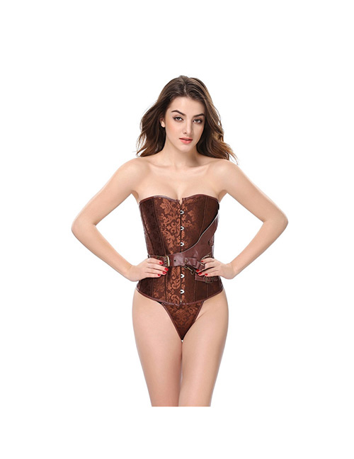 Sexy Brown Belt Decorated Pure Color Corset