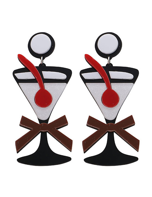 Fashion Multi-color Drinking Cup Shape Design Earrings