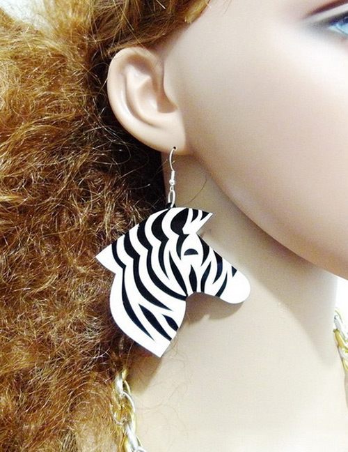 Fashion White Zebra Shape Design Simple Earrings