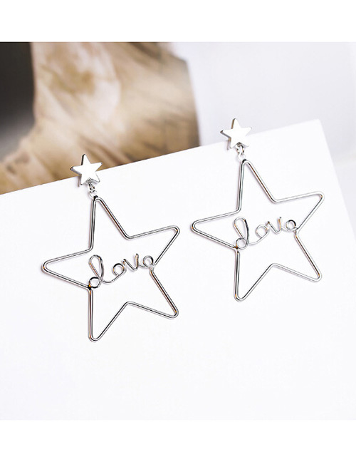Fashion Silver Color Star Shape Design Pure Color Earrings