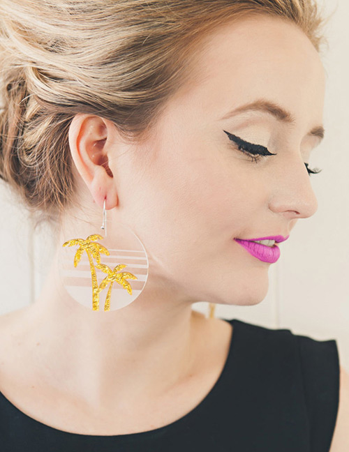 Fashion Yellow Coconut Tree Shape Decorated Earrings