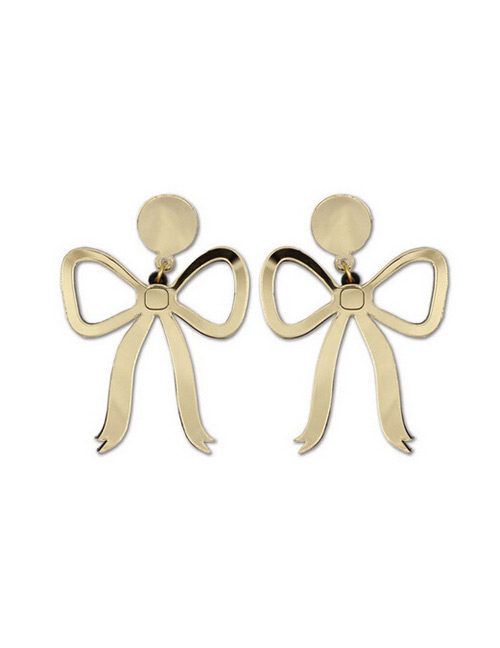 Fashion Gold Color Bowknot Shape Design Pure Color Earrings