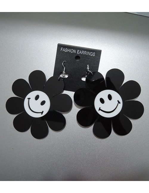 Fashion White+black Sunflower Shape Design Earrings(large)