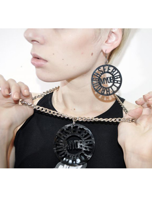 Fashion Black Hollow Out Design Round Shape Jewelry Sets