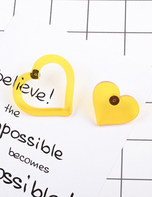 Fashion Yellow Hollow Out Heart Shape Design Earrings