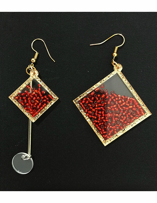Fashion Pink Square Shape Design Asymmetric Earrings