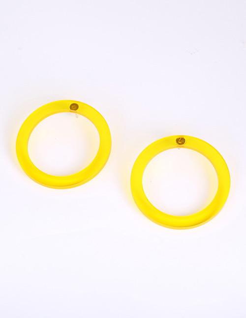 Fashion Yellow Pure Color Design Circular Ring Earrings