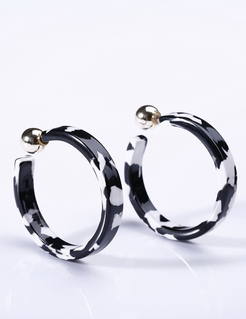 Fashion White+black Color Matching Design C Shape Earrings
