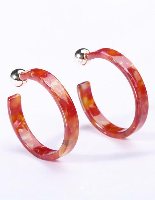 Fashion Red C Shape Design Simple Earrings