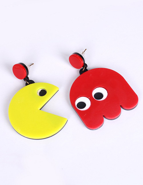 Fashion Red+yellow Cartoon Bird Shape Design Earrings