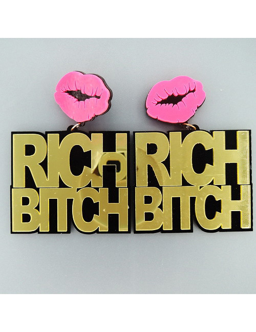 Fashion Gold Color Lips Shape Decorated Larger Earrings
