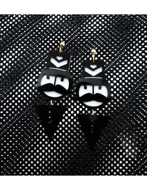 Fashion Black Soldiers Shape Decorated Earrings