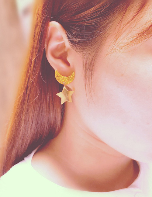 Fashion Gold Color Moon&star Shape Design Earrings