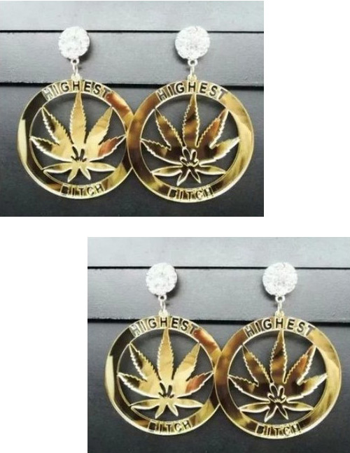 Fashion Gold Color Maple Leaves Decorated Round Shape Earrings