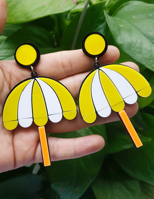 Fashion Yellow Umbrella Shape Design Long Earrings