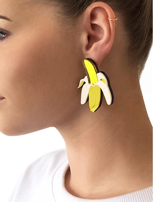Fashion Yellow Bananas Shape Design Simple Earrings