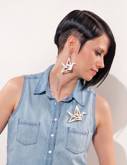 Fashion White Paper Cranes Decorated Earrings