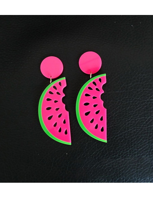 Fashion Plum Red Watermelon Shape Design Earrings