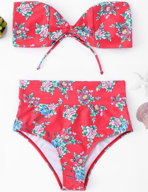 Sexy Red Flowers Pattern Decorated Bikini