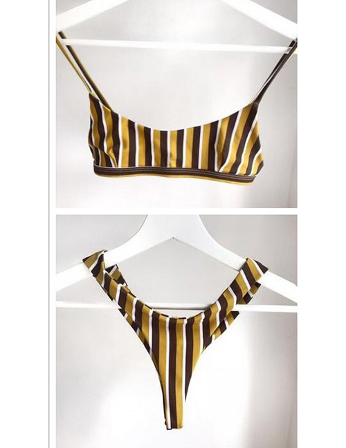 Sexy Yellow Stripe Pattern Decorated Bikini