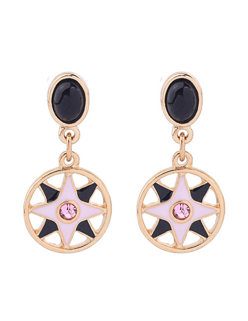 Fashion Pink+black Round Shape Decorated Earrings